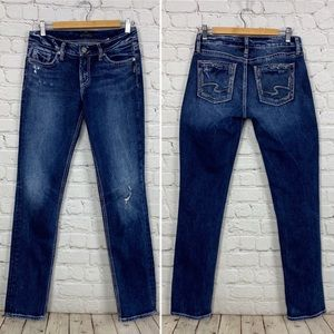 Silver Jeans Elyse straight stretch distressed 24